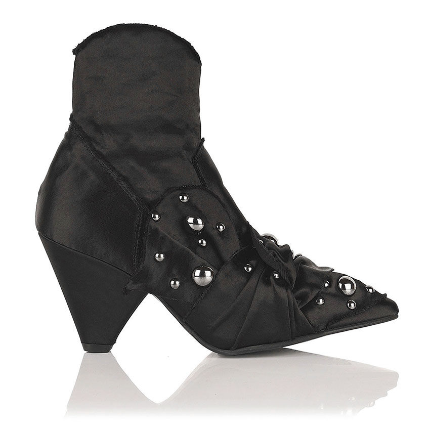 Black Stretch satin ankle boots