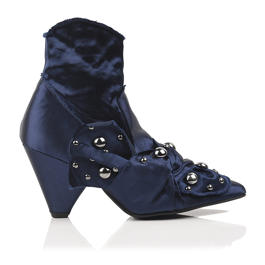 Stretch satin ankle boots